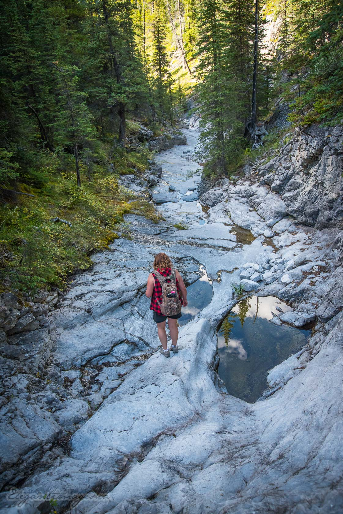 Compression Cirque Hike- meandering waterfall path through the rocky gorge