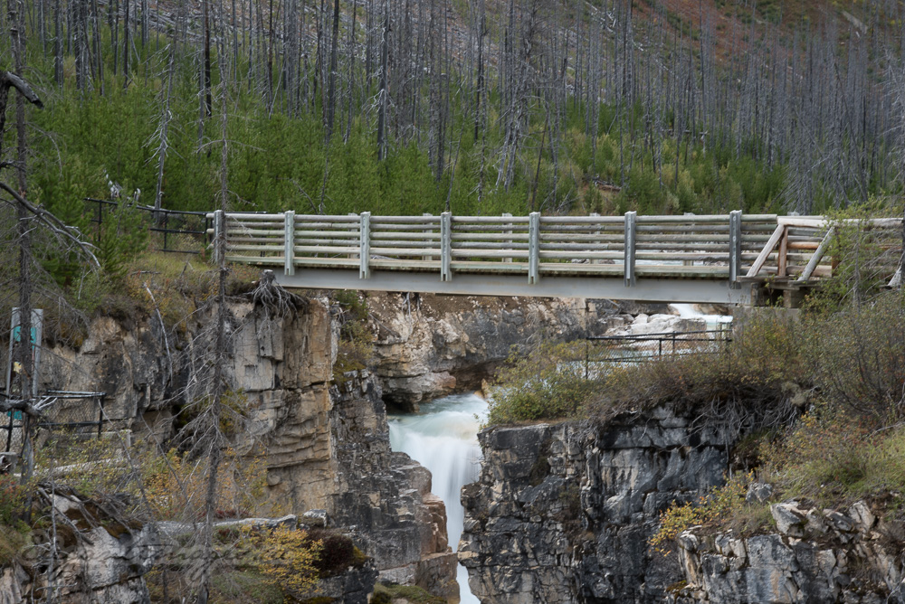 Bridge crossing Marble Canyon in Kootenay Park