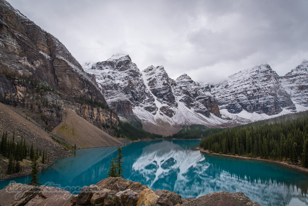 View of Moraine lake from the rock pile