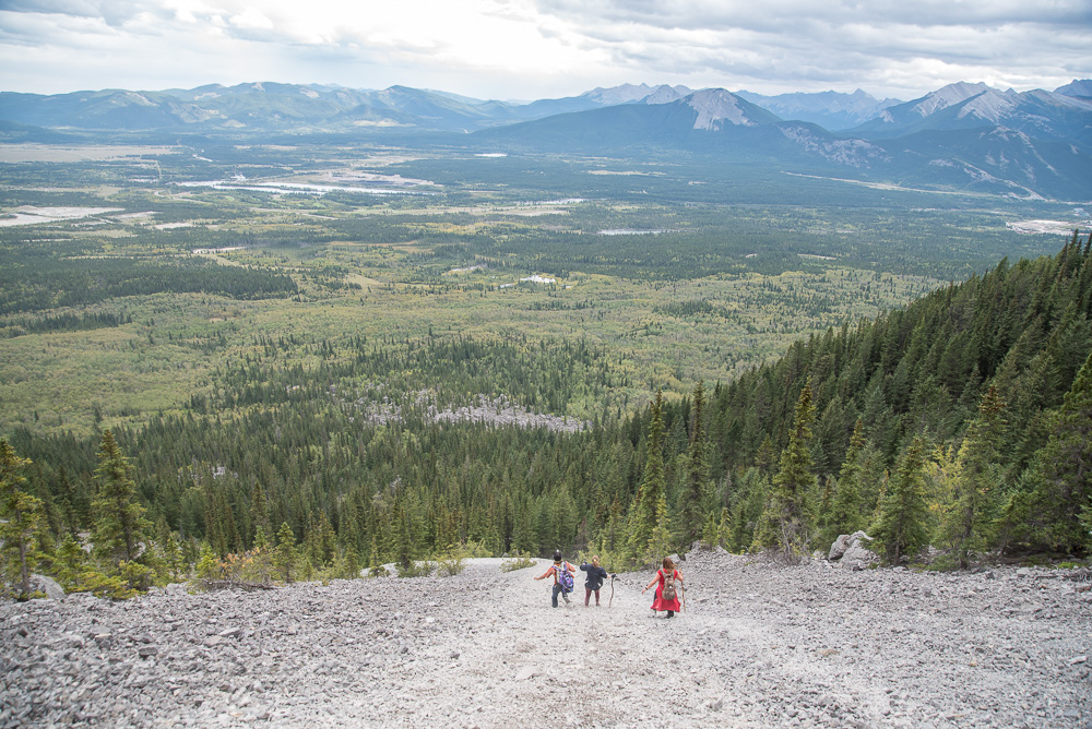 Scree surfing on Yamnuska