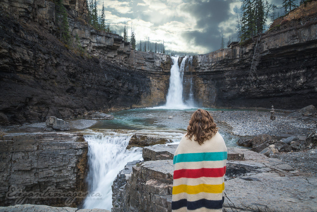 Crescent Falls with a model wearing a hudson bay blanket