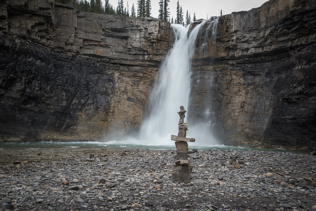 Crescent Falls from bottom with an inukshuk