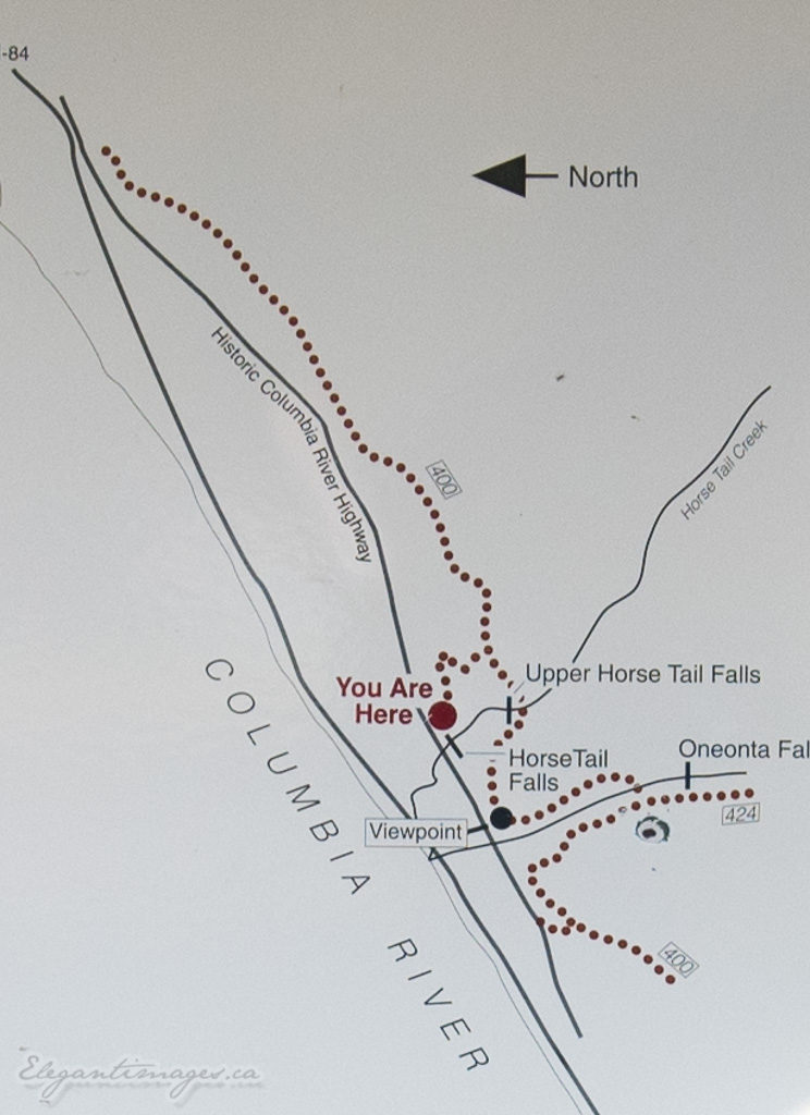 map of ponytails falls hike