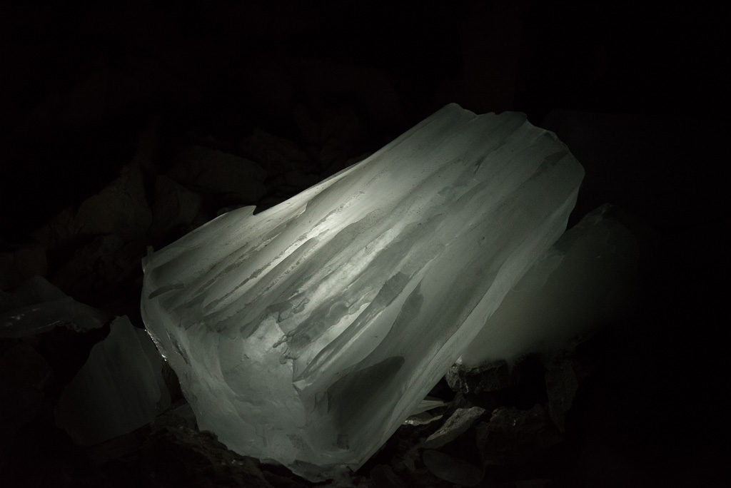 Ice inside the Main Chamber of Kananaski Ice Cave